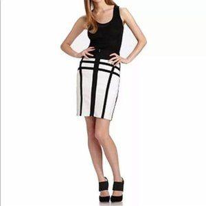 Herve Leger - black & white stretch pencil skirt